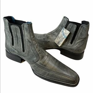 Joe Sanchez Grey Leather Ankle Boots